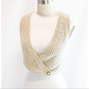 Vintage hand knit vest, cream speckled yarn crop